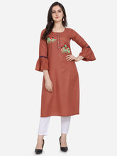 Load image into Gallery viewer, Admyrin Brown Ruby Cotton Hand work Kurti
