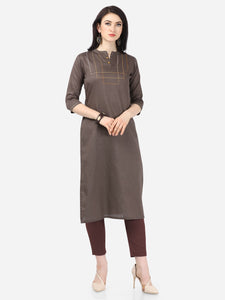 Admyrin Dark Brown Cotton Satin Printed Kurti