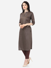 Load image into Gallery viewer, Admyrin Dark Brown Cotton Satin Printed Kurti