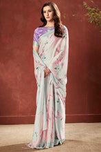 Load image into Gallery viewer, Bhelpuri Baby Pink Crepe Printed Saree with Blouse Piece