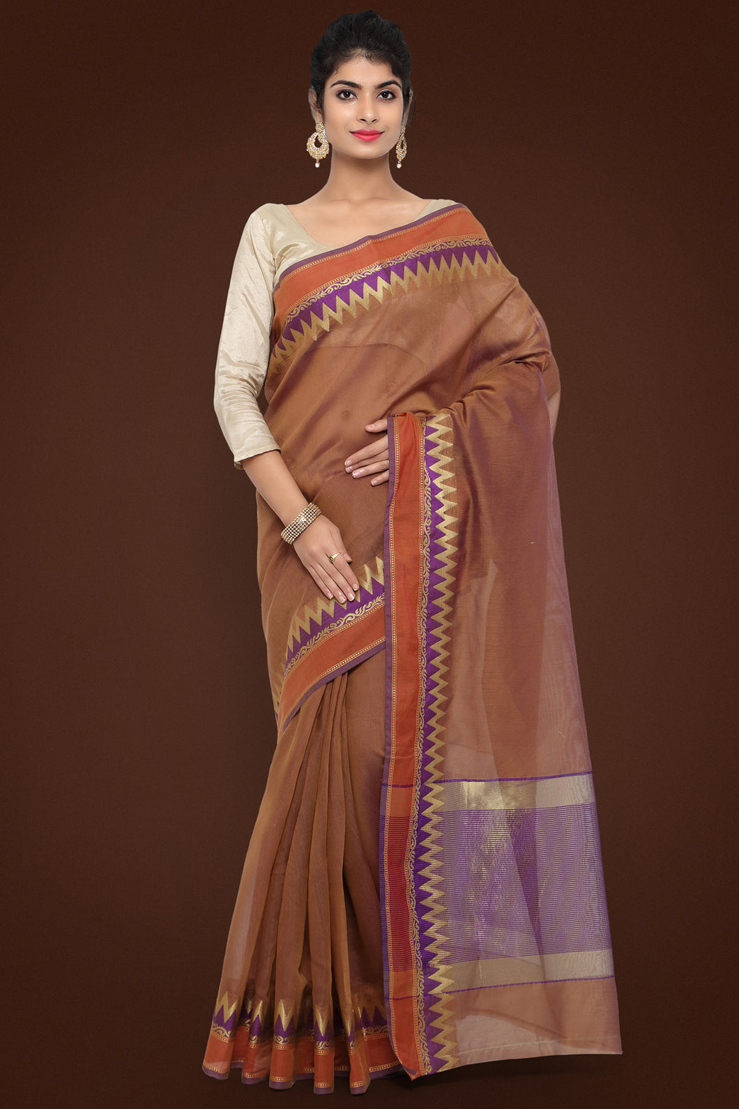 Bhelpuri Brown Chanderi Cotton Saree with Chanderi Cotton Blouse Piece