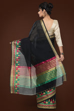 Load image into Gallery viewer, Bhelpuri Black Chanderi Cotton Zari Woven Saree with Blouse Piece
