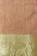 Load image into Gallery viewer, Bhelpuri Peach Cotton Silk Woven Saree with Cotton Blouse Piece