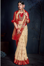 Load image into Gallery viewer, Bhelpuri Cream & Red Silk Saree with Blouse Piece