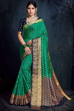 Load image into Gallery viewer, Bhelpuri Green & Navy Blue Silk Saree with Blouse Piece