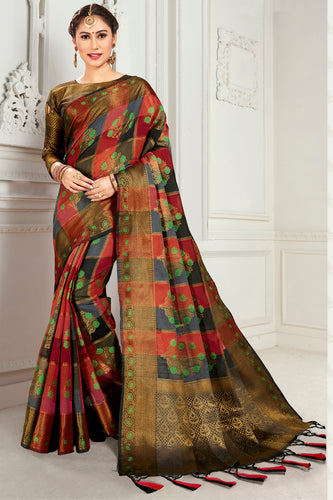 Bhelpuri Red & Brown Cotton Woven Traditional Saree with Blouse Piece