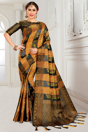 Bhelpuri Mustard & Brown Cotton Woven Traditional Saree with Blouse Piece