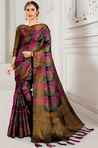 Bhelpuri Magenta & Brown Cotton Woven Traditional Saree with Blouse Piece