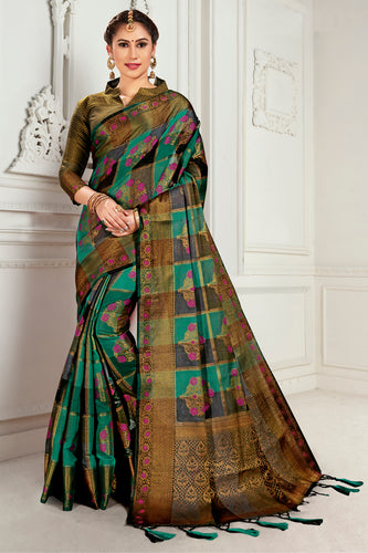 Bhelpuri Green & Brown Cotton Woven Traditional Saree with Blouse Piece