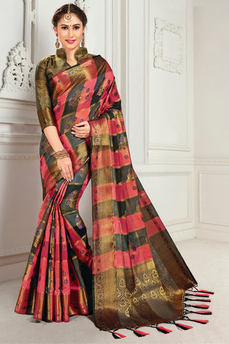 Bhelpuri Peach & Brown Cotton Woven Traditional Saree with Blouse Piece