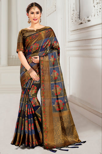 Bhelpuri Blue & Brown Cotton Woven Traditional Saree with Blouse Piece