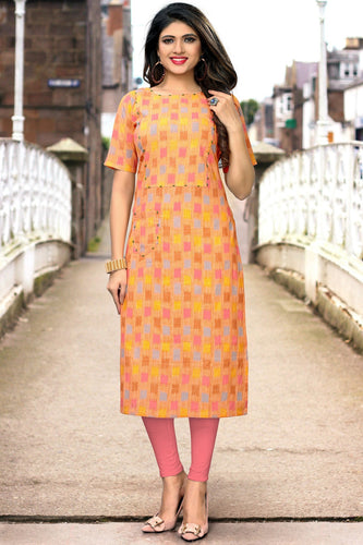 Admyrin Multi Color Flax Cotton Printed  Kurti