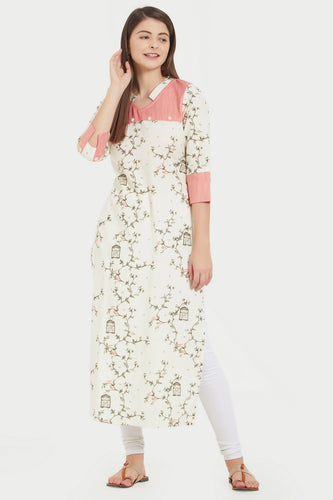 Admyrin Off White Cotton Printed  Kurti