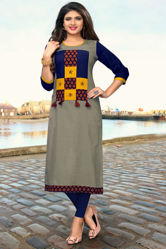 Admyrin Gray Slub Cotton Printed   Kurti
