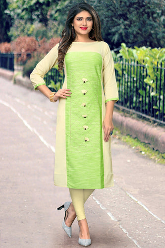 Admyrin Cream & Pista Flax Cotton Plain & Embroidered Kurti