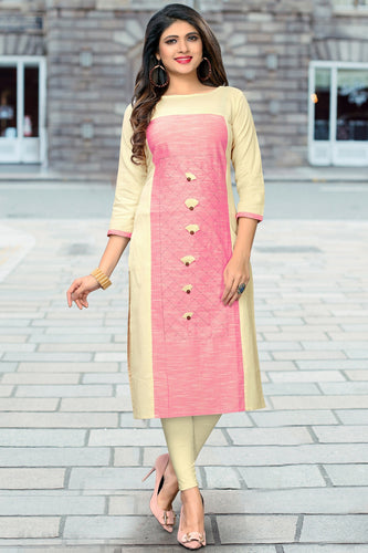 Admyrin Cream & Pink Flax Cotton Plain & Embroidered Kurti