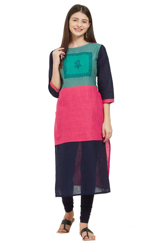 Admyrin Multi Color Slub Cotton Printed Kurti