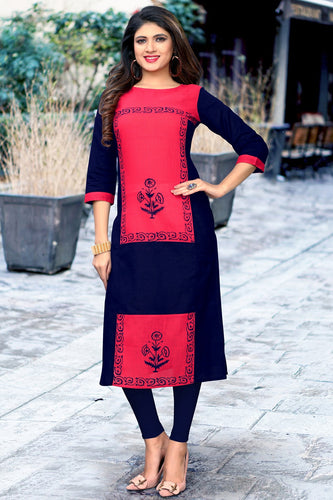 Admyrin Navy Blue & Pink Slub Cotton Printed Kurti