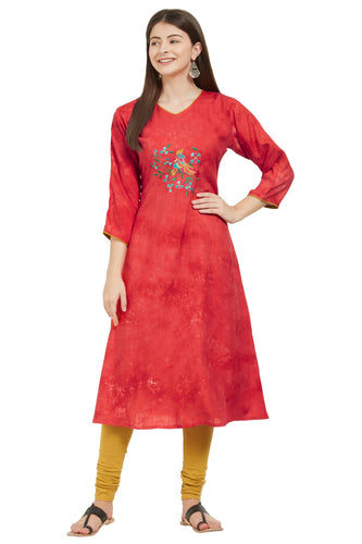 Admyrin Red Rayon Printed & Embroidered  Kurti