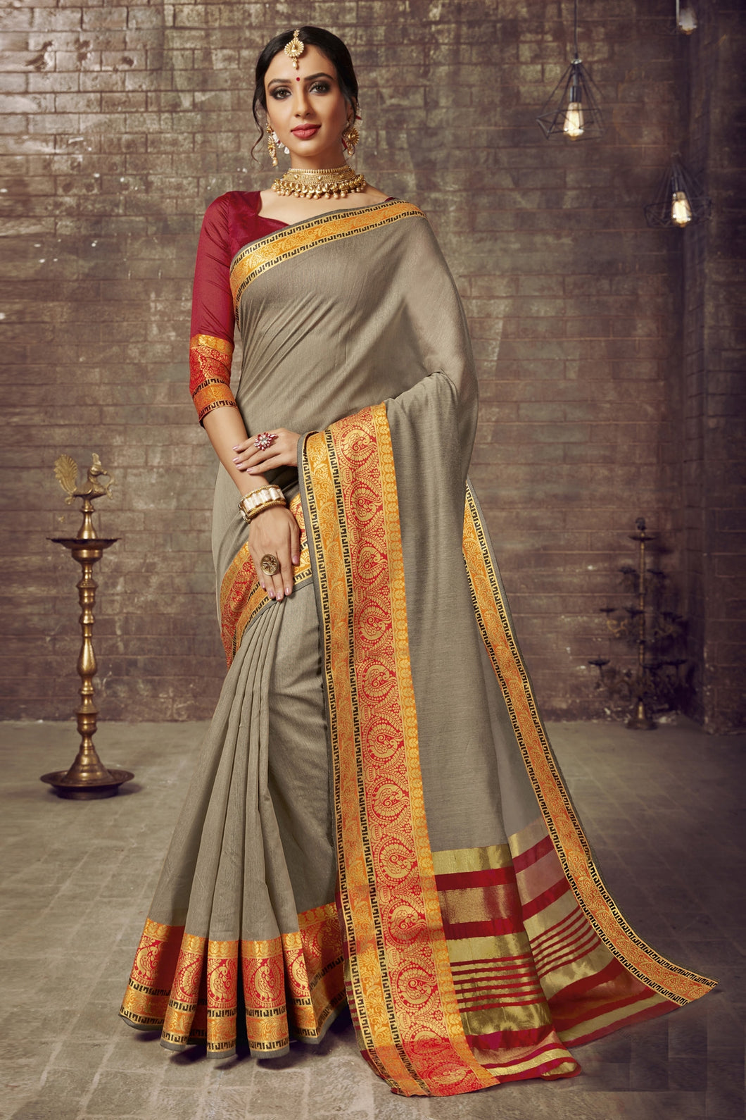 Bhelpuri Cotton Silk Beige Weaving Work Saree with Blouse