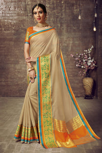 Bhelpuri Cotton Silk Cream Weaving Work Saree with Blouse