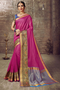 Bhelpuri Cotton Silk Pink Weaving Work Saree with Blouse