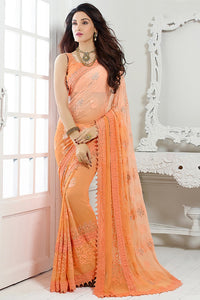 Bhelpuri Orange Chiffon Saree with Blouse Piece