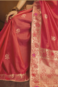 Bhelpuri Coral Fancy Jacquard Silk  Saree with Blouse Piece