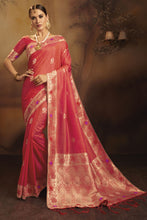 Load image into Gallery viewer, Bhelpuri Coral Fancy Jacquard Silk  Saree with Blouse Piece