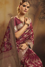 Load image into Gallery viewer, Bhelpuri Maroon Fancy Jacquard Silk  Saree with Blouse Piece
