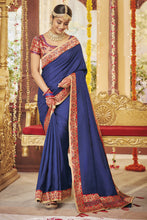 Load image into Gallery viewer, Bhelpuri Blue Dola Silk Saree with Blouse Piece