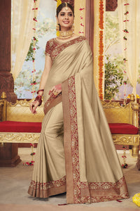Bhelpuri Beige Dola Silk Saree with Blouse Piece