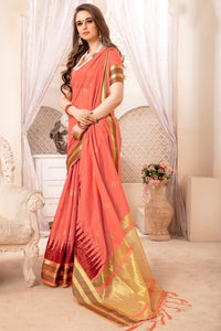 Bhelpuri Coral Bengal Patta Woven Saree with Blouse Piece