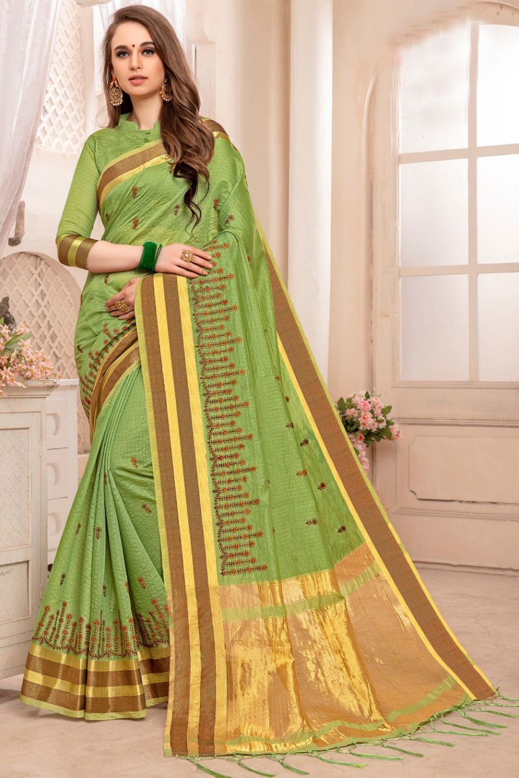 Bhelpuri Green Bengal Patta Woven Saree with Blouse Piece