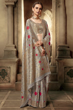 Load image into Gallery viewer, Bhelpuri Grey Cotton Silk Woven Saree with Blouse Piece