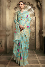 Load image into Gallery viewer, Bhelpuri Aqua Cotton Silk Woven Saree with Blouse Piece