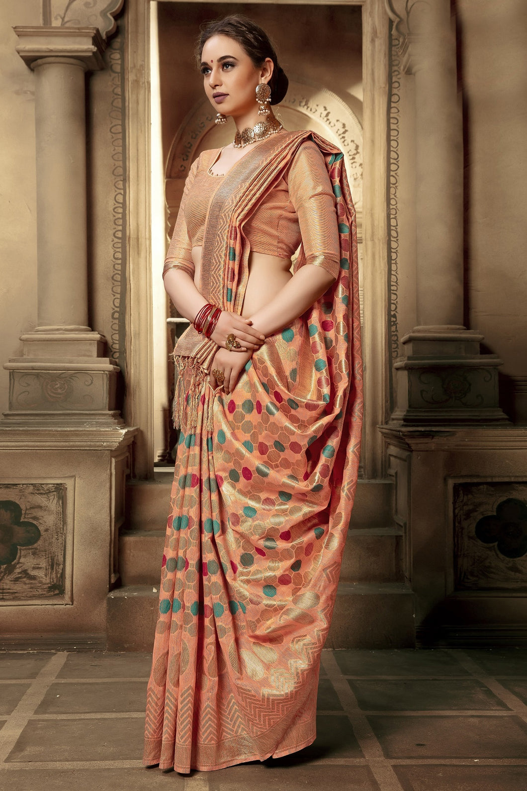 Bhelpuri Peach Cotton Silk Woven Saree with Blouse Piece