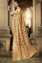 Load image into Gallery viewer, Bhelpuri Cream Cotton Silk Woven Saree with Blouse Piece