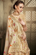 Load image into Gallery viewer, Bhelpuri Gold Cotton Silk Woven Saree with Blouse Piece