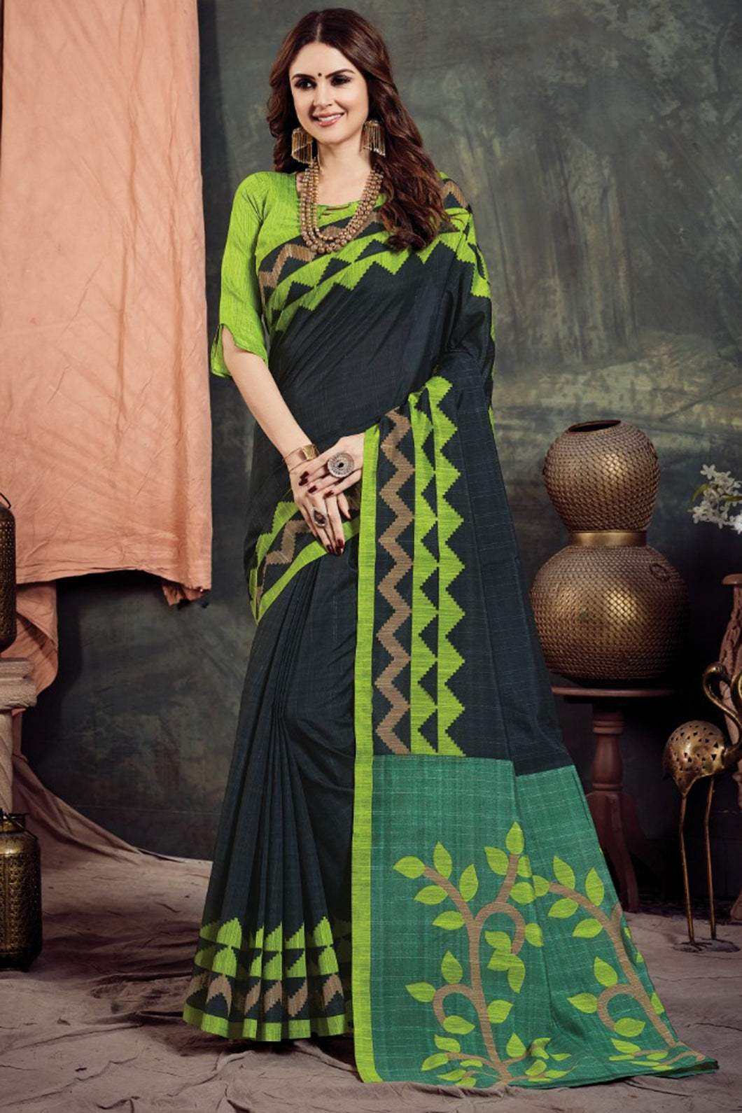 Bhelpuri Multi Bhagalpuri Woven Saree with Blouse Piece