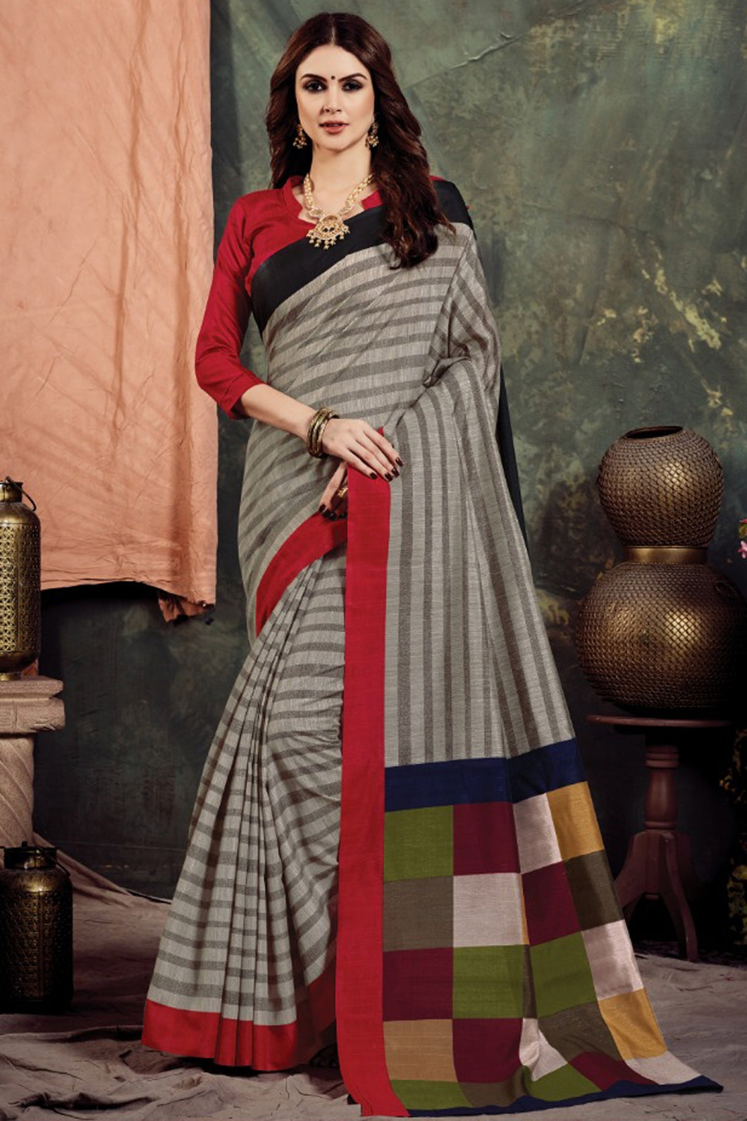 Bhelpuri Grey Bhagalpuri Woven Saree with Blouse Piece