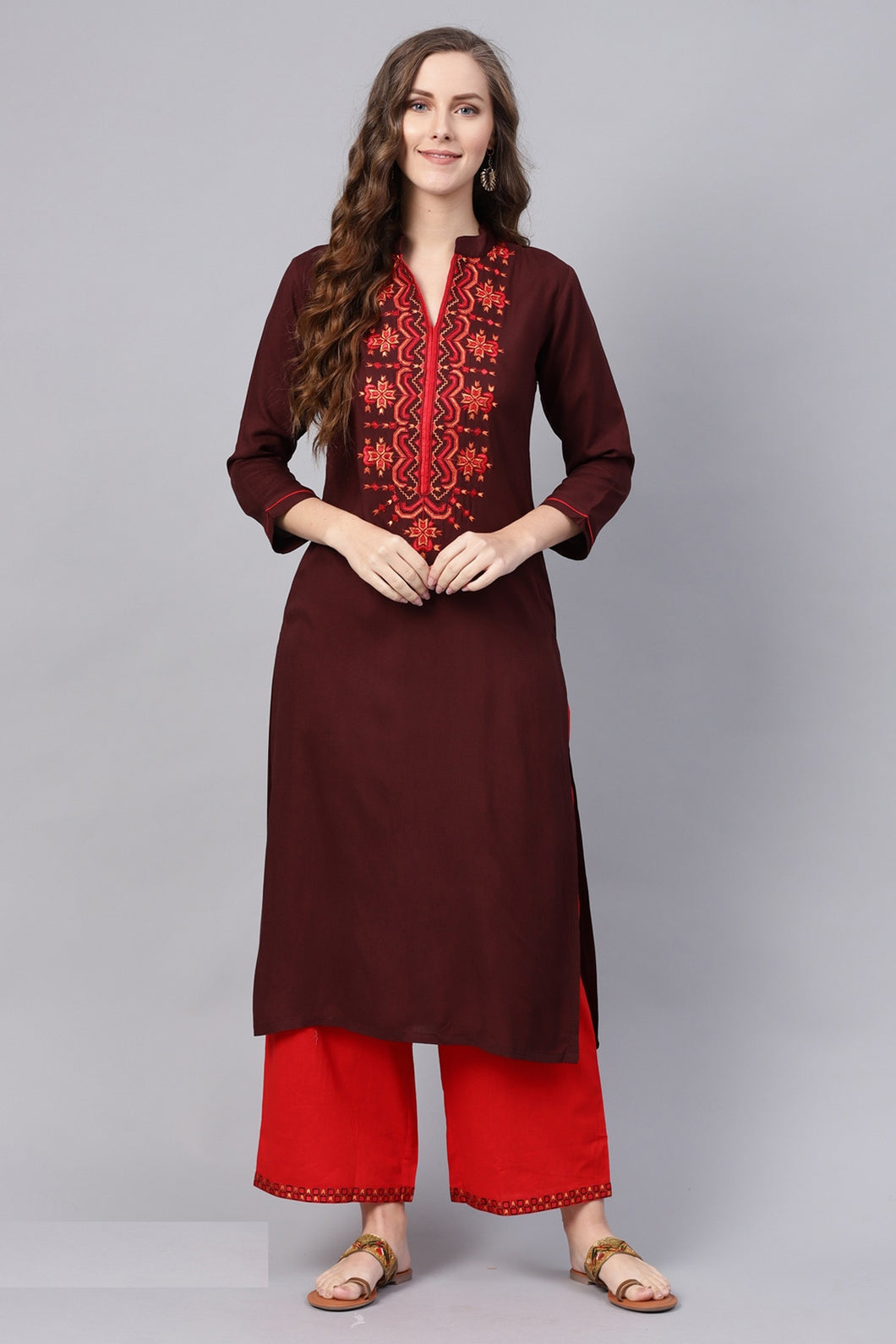 Admyrin Brown Viscose Rayon Printed Kurti