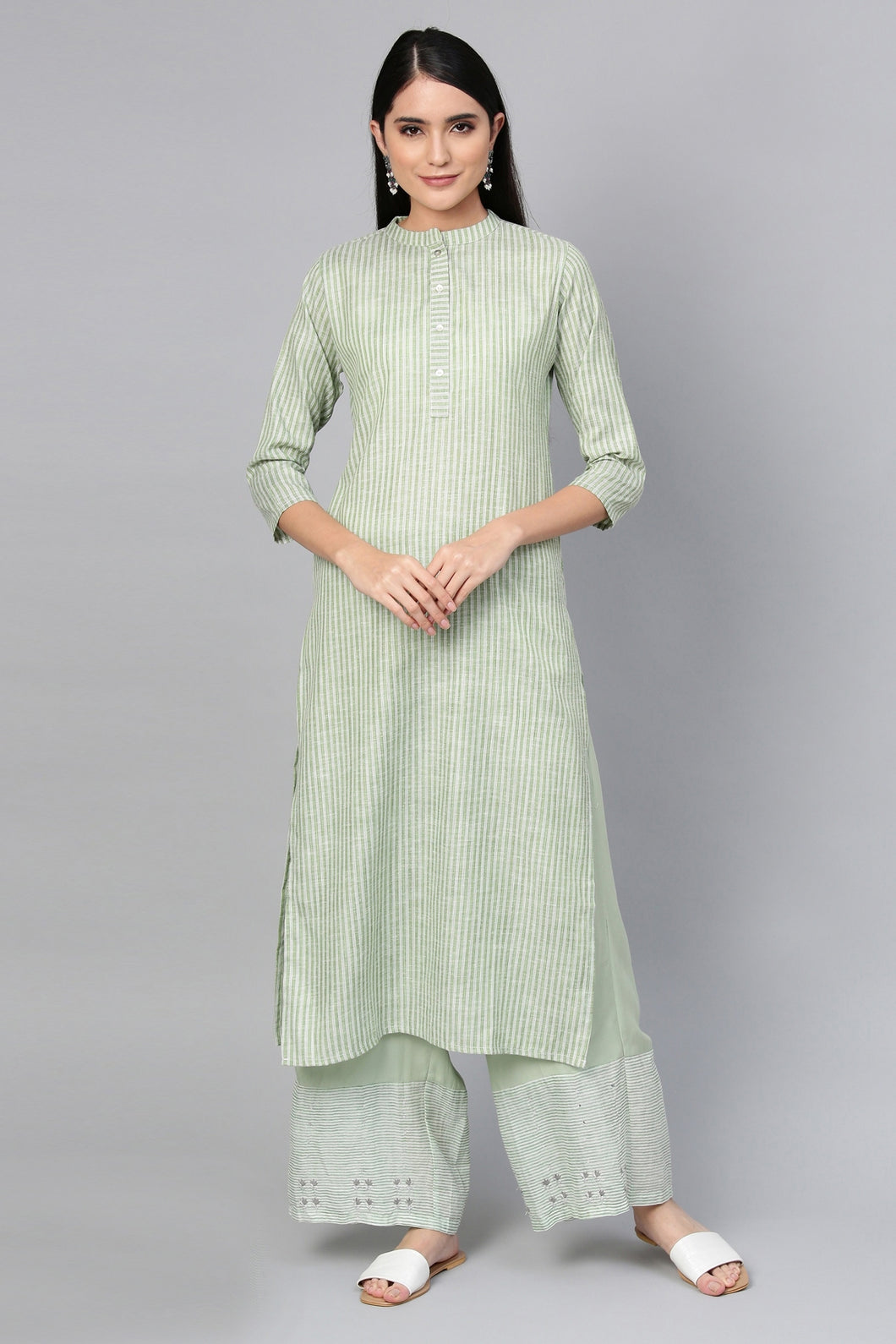 Admyrin Green Cotton Striped Printed Kurti