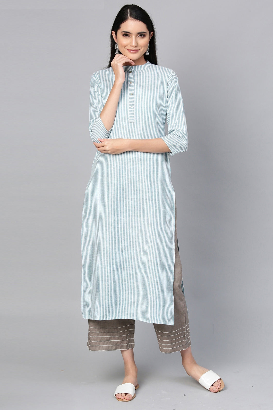 Admyrin Blue Cotton Striped Printed Kurti