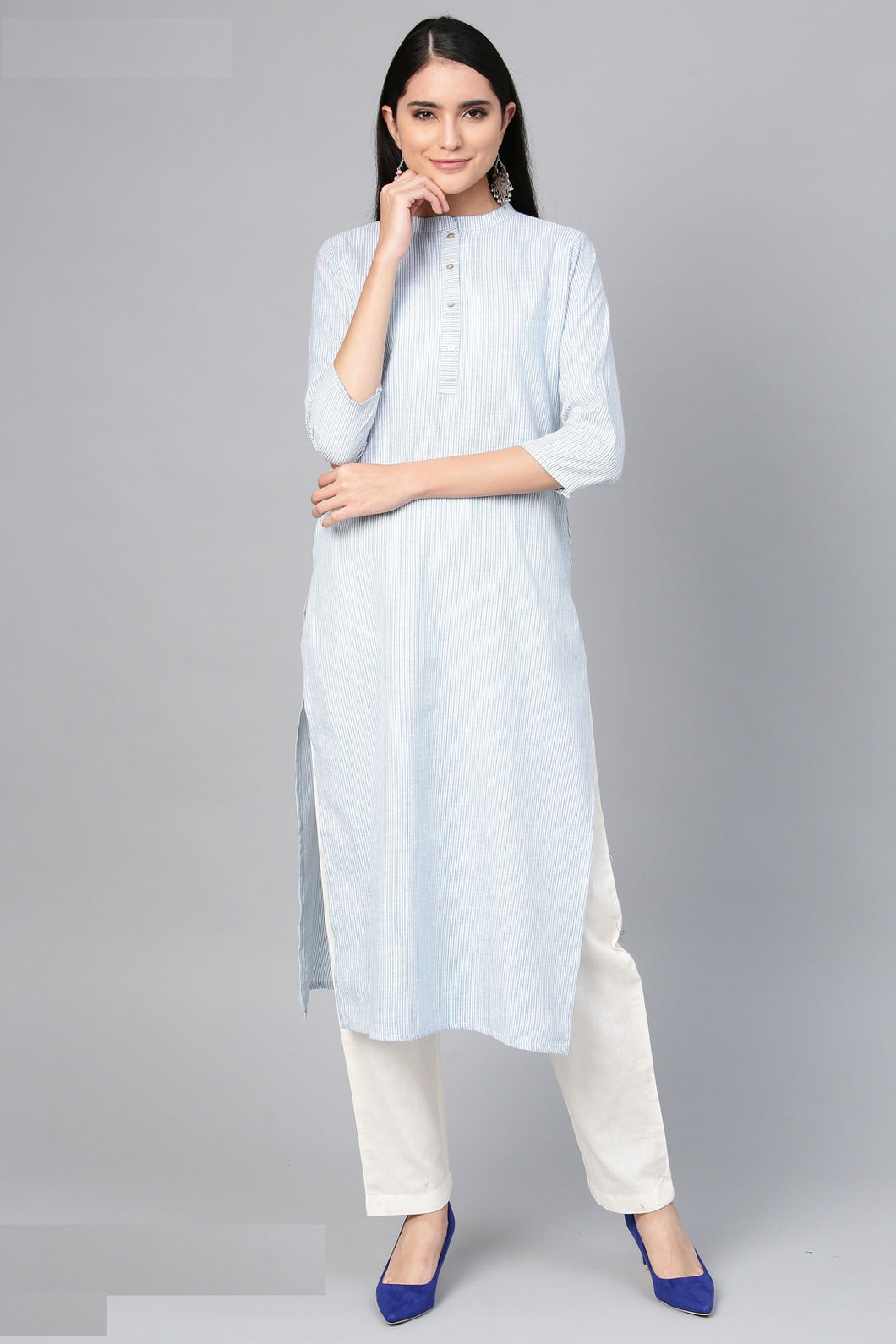Admyrin Light Blue Cotton Striped Printed Kurti