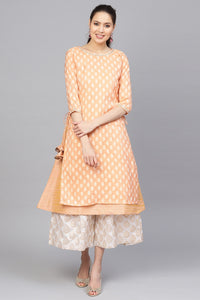 Admyrin Peach Cotton Silk Woven Design Kurti