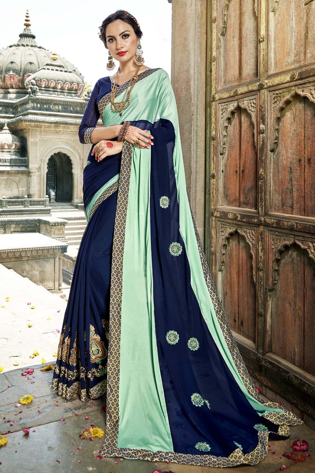 Bhelpuri Fancy Fabric Aqua & Navy Blue Embroidered With Stone Work Saree