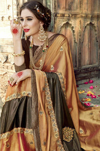 Bhelpuri Fancy Fabric Copper Gold Embroidered With Stone Work Saree