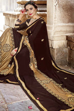 Load image into Gallery viewer, Bhelpuri Fancy Fabric Brown Embroidered With Stone Work Saree