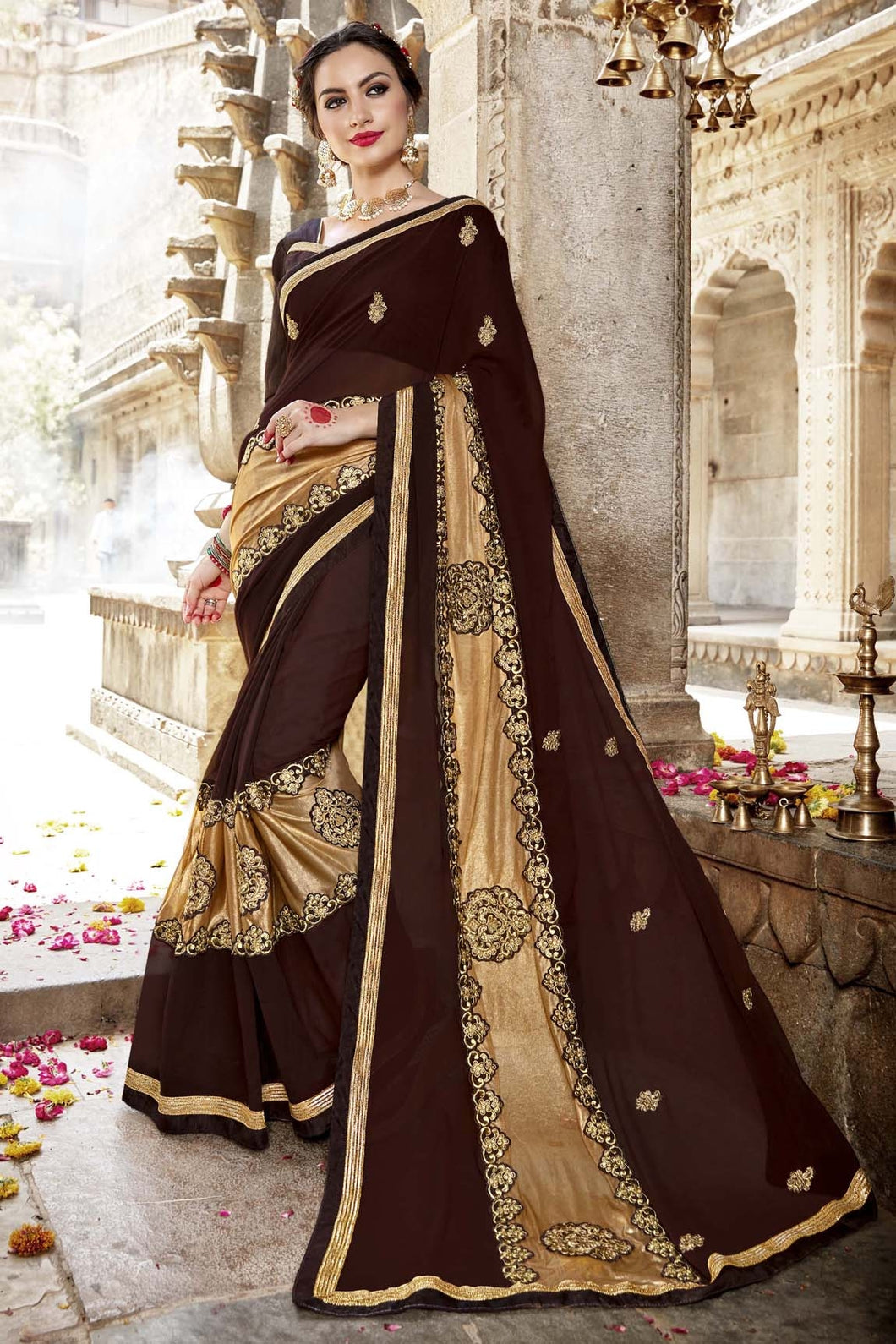 Bhelpuri Fancy Fabric Brown Embroidered With Stone Work Saree